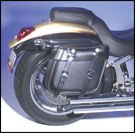 Grand Canyon Quick Detachable US Made Leather Saddlebag on a Harley-Davidson Screamin' Eagle Deuce