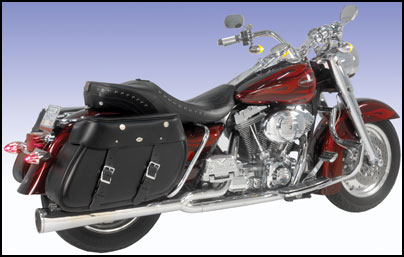 Rendezvous Quick Detachable US Made Leather Saddlebag on a Harley-Davidson Fat Boy