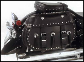 Mega studded Rendezvous saddlebags mounted with quick detach brackets